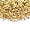 Seed bead, glass, 24Kt gold-finished (Miyuki #191), #15 round rocaille. Sold per 250-gram pkg.