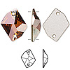 Sew-on component, Swarovski crystal, crystal copper, 20x16mm flat back faceted cosmic (3265). Sold per pkg of 72.
