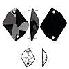 Sew-on component, Swarovski crystal, jet, 26x21mm flat back faceted cosmic (3265). Sold individually.