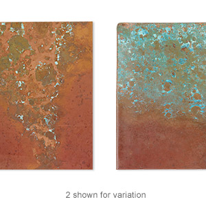 Sheet, Lillypilly, copper, rojo patina, 3-inch single-sided square, 36 gauge. Sold individually.