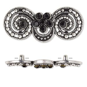"Spacer, antiqued silver-finished ""pewter"" (zinc-based alloy) and Czech glass rhinestone, black, 39x17mm 2-strand fancy double circle. Sold per pkg of 4."