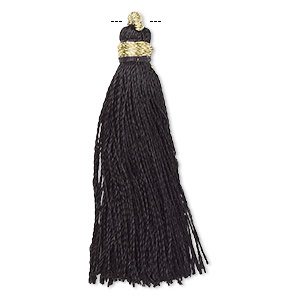 Tassel, silk (imitation) and gold-finished copper, black, 1-3/4 to 2 inches. Sold per pkg of 12.