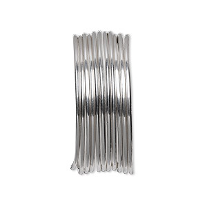 Wire, Beadalon®, stainless steel, 3/4 hard, round, 18 gauge. Sold per pkg of 3.5 meters.