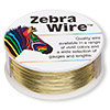 Wire, Zebra Wire™, brass, gold color, round, 26 gauge. Sold per 1/4 pound spool, approximately 115 yards.