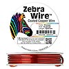 Wire, Zebra Wire™, color-coated copper, orange, round, 12 gauge. Sold per 3-yard spool.