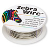 Wire, Zebra Wire™, silver-finished copper, round, 20 gauge. Sold per 15-yard spool.