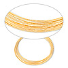 Wire, gold-finished stainless steel, 0.6-0.75mm thick, 3-5/8 inch inside diameter. Sold per 1-ounce pkg, approximately 30 loops.