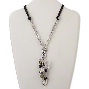 "Necklace, 2-strand, silk / glass/ imitation rhodium-finished ""pewter"" (zinc-based alloy) steel ..."