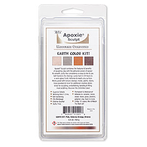 adhesive, apoxie sculpt, epoxy and polymer resin, assorted earth colors. sold per 8-ounce pkg.