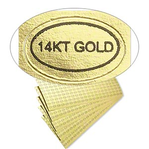 adhesive label, paper, gold and black, 1/2 x 5/16 inch oval with 14kt gold. sold per pkg of 1,000.