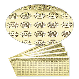 adhesive label, paper, gold and black, 1/2 x 5/16 inch oval with made in mexico. sold per pkg of 1,000.
