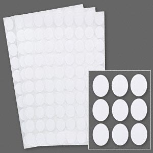 adhesive label, paper, white, 1/2 x 3/8 inch oval. sold per pkg of 1,040.