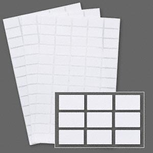 adhesive label, paper, white, 5/8 x 3/8 inch rectangle. sold per pkg of 1,040.