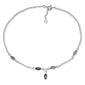 anklet, iolite (natural) and sterling silver, 5x3mm marquise, adjustable from 9-1/2  to 10-1/2 inches with springring clasp. sold individually.