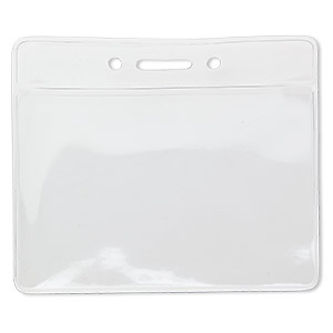badge holder, plastic, 3-3/4 x 3-inch rectangle. sold per pkg of 10.
