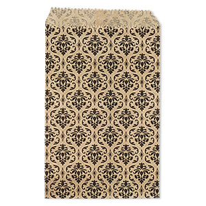 bag, paper, brown and black, 6x4 inches with damask print and scalloped top edge. sold per pkg of 100.