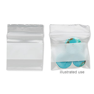 bag, tite-lip™, plastic, clear and white, 1x1-inch top zip with block. sold per pkg of 100.