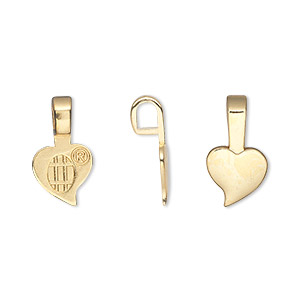 bail, aanraku, glue-on, 18kt gold-plated pewter (zinc-based alloy), 16x9mm with 9x7mm heart flat base. sold per pkg of 25.