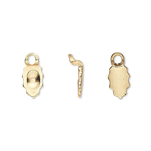 bail, aanraku, glue-on earring, 18kt gold-plated pewter (zinc-based alloy), 13x6.5mm with 9x6.5mm leaf flat base. sold per pkg of 2 pairs.