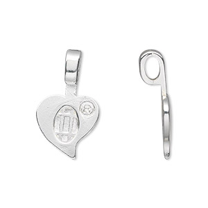 bail, aanraku, glue-on, silver-plated pewter (zinc-based alloy), 23x13.5mm with 13.5x10mm heart flat base. sold per pkg of 5.
