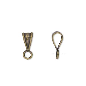 bail, antique gold-plated brass, 9x5mm double-sided textured with closed loop. sold per pkg of 20.