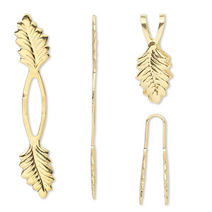 bail, fold-over, gold-plated brass, 39x7mm y-style with leaf and 20mm grip length. sold per pkg of 480.