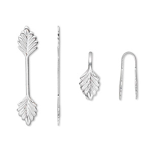 bail, fold-over, silver-plated brass, 29x6mm double leaf with 14mm grip length. sold per pkg of 100.