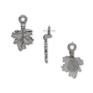 bail, glue-on earring style, gunmetal-plated pewter (tin-based alloy), 17x11mm with 11x10mm leaf flat base. sold per pkg of 4.