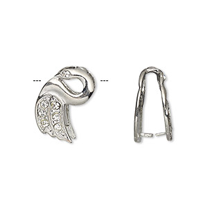 bail, ice-pick, egyptian glass rhinestone and imitation rhodium-plated brass, clear, 17x10mm swan, 13mm grip length. sold per pkg of 6.