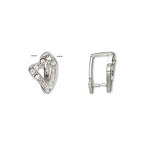 bail, ice-pick, egyptian glass rhinestone and imitation rhodium-plated brass, clear, 13x9mm heart, 9mm grip length. sold per pkg of 6.