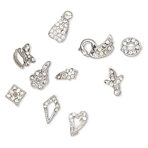 bail, ice-pick, egyptian glass rhinestone and imitation rhodium-plated brass, clear, 9mm-16x8mm multi-shape, 6-11mm grip length. sold per pkg of 10.