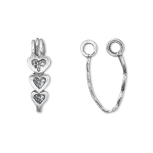 bail, jbb findings, donut, antiqued sterling silver, 17x6.5mm with 3 heart design, 14x3.5mm grip length. sold individually.