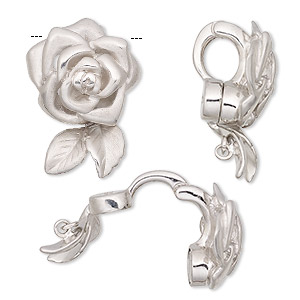 bail, magnetic, sterling silver, 23x16mm satin rose with hidden loop. sold individually.