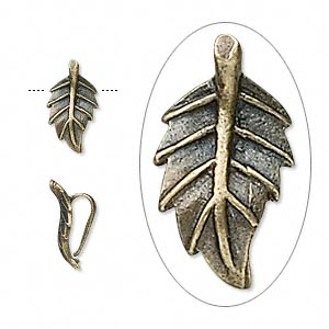 bail, pendant, antique brass-plated pewter (zinc-based alloy), 12x6x5mm leaf. sold per pkg of 10.