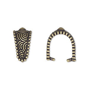 bail, tierracast, ice-pick, antique brass-plated pewter (tin-based alloy), 17x9mm with swirl design and beaded border, 12mm grip length. sold individually.