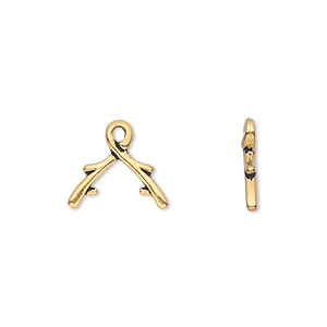 bail, tierracast, ice-pick, antique gold-plated pewter (tin-based alloy), 13x8mm with vine design, 4mm grip length. sold per pkg of 2.