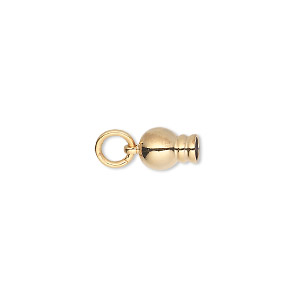 ball end, gold-plated brass, 11x6mm with jumpring, for use with dione easy-on chain. sold per pkg of 2.