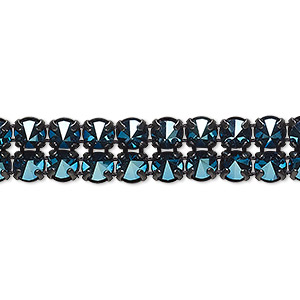 banding, preciosa czech crystal / cotton / black-plated brass, opaque crystal blue flare and black, 2 rows, 10mm wide with 5mm spike. sold per pkg of 7-3/4 inches, approximately 80 chatons.