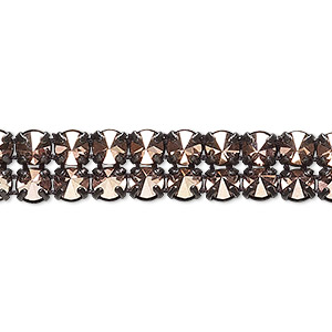 banding, preciosa czech crystal / cotton / black-plated brass, opaque crystal capri gold and black, 2 rows, 10mm wide with 5mm spike. sold per pkg of 7-3/4 inches, approximately 80 chatons.