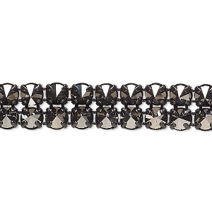 banding, preciosa czech crystal / cotton / black-plated brass, opaque jet silver flare and black, 2 rows, 10mm wide with 5mm spike. sold per pkg of 7-3/4 inches, approximately 80 chatons.
