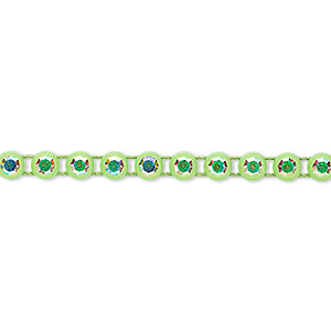 banding, preciosa czech crystal / plastic / cotton, crystal ab and transparent acid green, 4mm wide with 4mm round. sold per pkg of 1 meter, approximately 200 chatons.