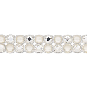 banding, preciosa rose viva 12 czech crystal / glass pearl / cotton cord / silver-plated brass, opaque cream / white / transparent crystal argent flare, 2 rows, 10mm wide with 4.5mm round. sold per pkg of 10 meters, approximately 2,300 chatons and 2,300 cabochons.