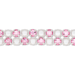 banding, preciosa rose viva 12 czech crystal / glass pearl / cotton cord / silver-plated brass, opaque white and transparent rose, 2 rows, 10mm wide with 4.5mm round. sold per pkg of 10 meters, approximately 2,300 chatons and 2,300 cabochons.