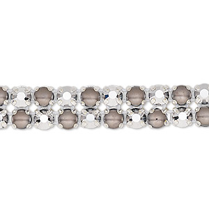 banding, preciosa rose viva 12 czech crystal / glass pearl / cotton cord / silver-plated brass, opaque dark grey / black / transparent crystal labrador, 2 rows, 10mm wide with 4.5mm round. sold per pkg of 7-3/4 inches, approximately 40 chatons and 40 cabochons.