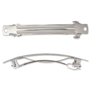 barrette, nickel-plated steel, 76x9mm with 2 holes. sold per pkg of 10.