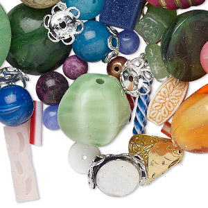 bead / bead cap / cabochon / embellishment / focal / drop mix, acrylic / glass / wood / coated plastic, 2x2mm-50x35mm mixed shape. sold per 1-pound pkg, approximately 320-1,200 pieces.