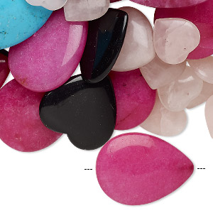 bead / charm / drop / focal mix, multi-gemstone (natural / dyed / imitation) and glass, mixed colors, 6x4mm-50mm mixed shape, mohs hardness 3 to 7. sold per 1-pound pkg, approximately 110-120 pieces.