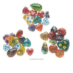 bead / drop / component mix, millefiori glass, mixed colors, 14-25mm top- / half- / undrilled mixed shape. sold per pkg of 10.