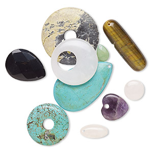 bead / drop / focal mix, multi-gemstone (natural / dyed / coated / manmade / imitation) and glass, mixed colors, 13x12mm-45x45mm mixed shape, c grade. sold per pkg of 10. minimum 3 per order.