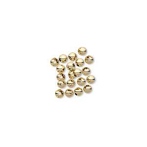 bead, 12kt gold-filled, 2.5mm round with 0.6mm hole. sold per pkg of 20.